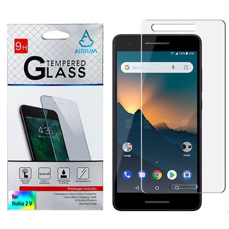 Nokia 2V Shockproof Tempered Glass LCD Screen Protector Crystal CLEAR 9H 2.5D HD Guard [Case Friendly][Anti-Bubble] Tempered Glass Screen Protector Cover for NOKIA 2 V ()