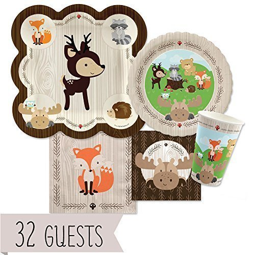 Woodland Creatures - Party Tableware Plates, Cups, Napkins - Bundle for 32