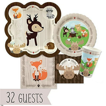 Woodland Creatures - Party Tableware Plates, Cups, Napkins - Bundle for 32](Wedding Shower Plates And Napkins)