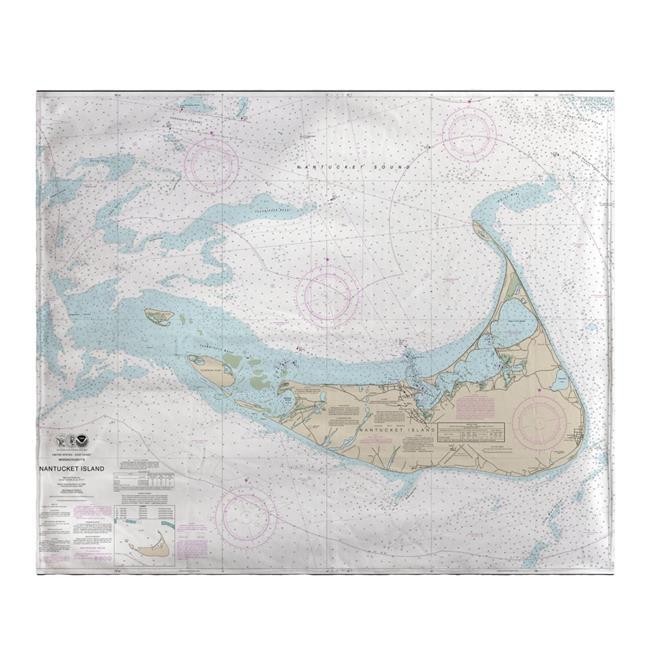 Betsy Drake BK13241NI 50 x 60 in. Nantucket Island, MA Nautical Map Fleece Throw