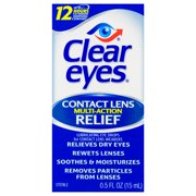 Clear Eyes Contact Lens Multi-Action Relief Eye Drops, 0.5 FL OZ
