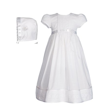 - Baby Girls White Cotton Floral Lace Bonnet Christening Dress Gown