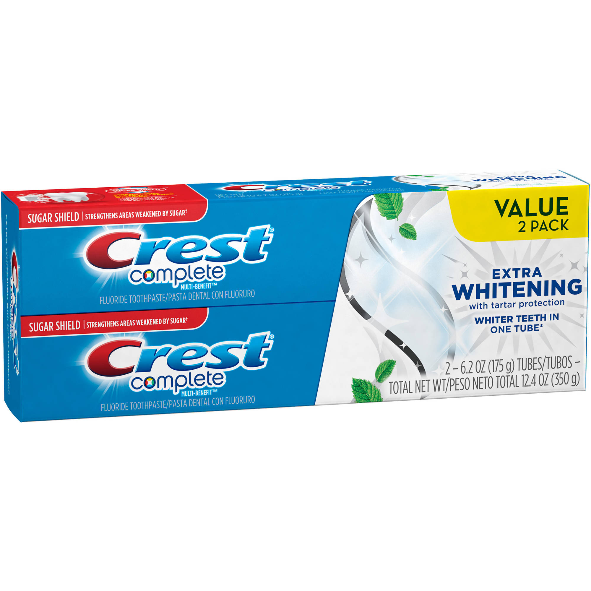 Crest Complete Clean Mint Flavor Extra Whitening Toothpaste with Tartar Protection, 6.2 oz, (Pack of 2)