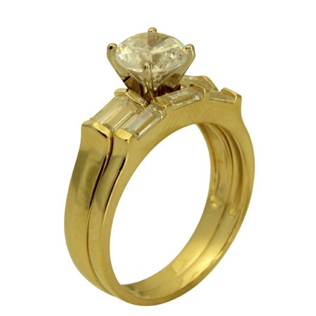 2.50 Ct 14K Real Yellow Gold Round Cut Center with Baguette Cut Bar Set Side Stones 4 Prong Cathedral Setting Engagement Wedding Propose Promise Ring with Matching Band Duo 2 Ring Set