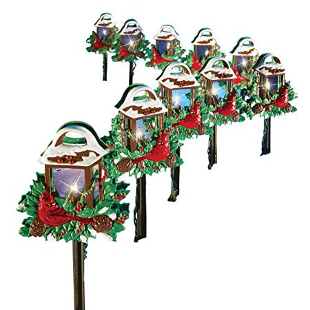 christmas cardinal lantern path lights set of 10