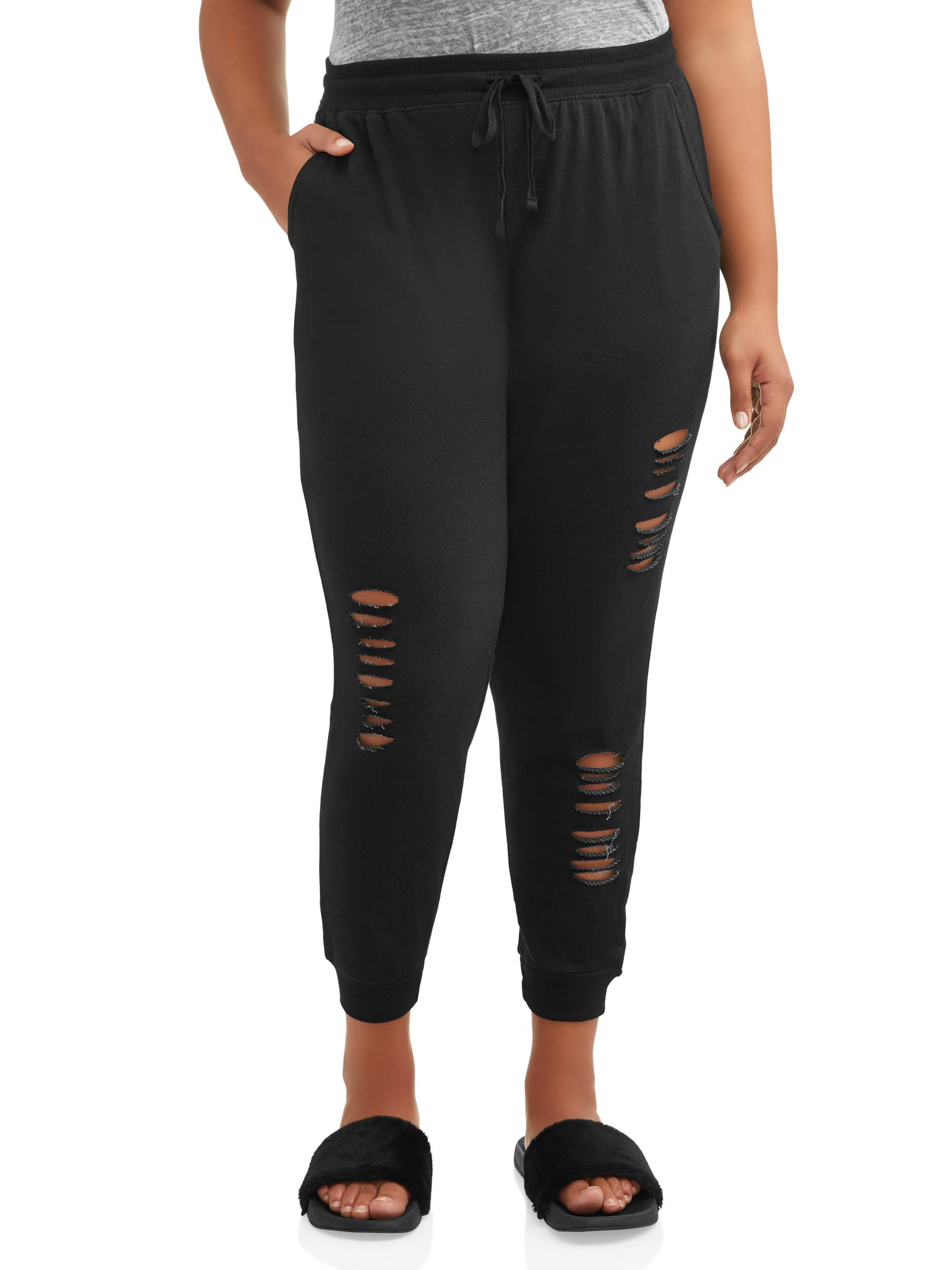 Juniors' Plus Size Distrissed French Terry Joggers