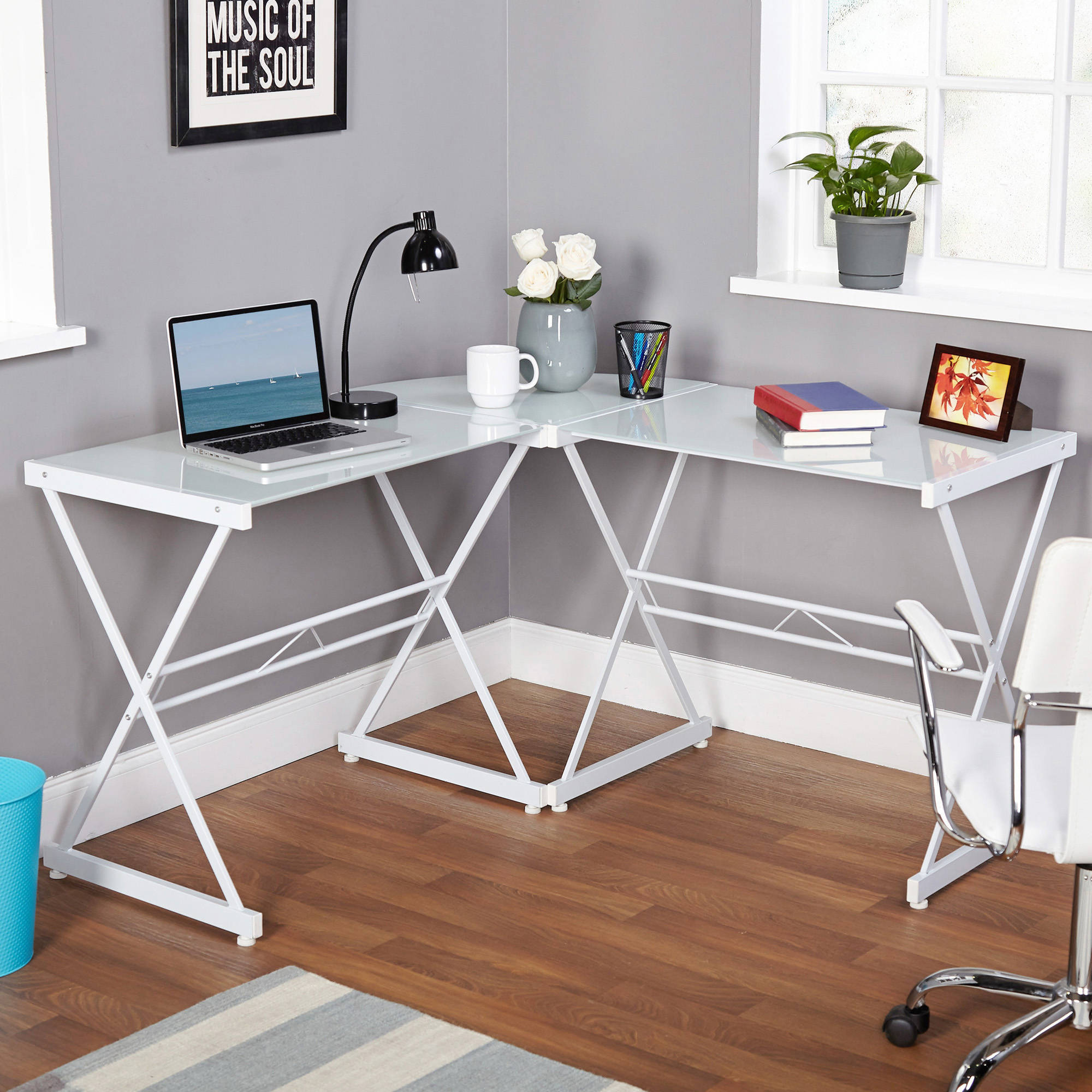 Atrium Metal And Glass L Shaped Computer Desk Multiple Colors Com