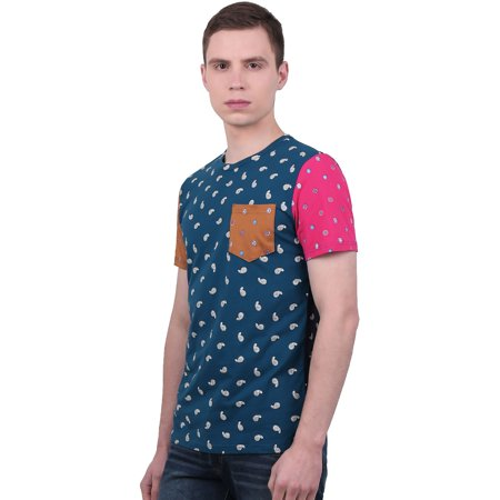 Man Paisleys Printed Color Block Short Sleeves Casual Tee Turquoise S - image 3 de 7