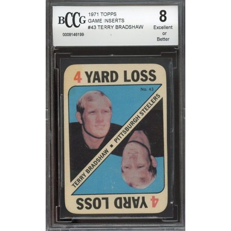 1971 Topps Game Inserts  43 Terry Bradshaw Pittsburgh Steelers Rookie Bgs Bccg 8