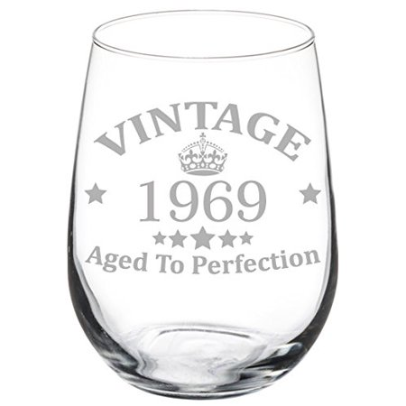 Wine Glass Goblet 50th Birthday Vintage Aged To Perfection 1969 (17 oz Stemless) (Birthday Girl Wine Glass)