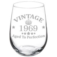 Wine Glass Goblet 50th Birthday Vintage Aged To Perfection 1969 (17 oz Stemless)
