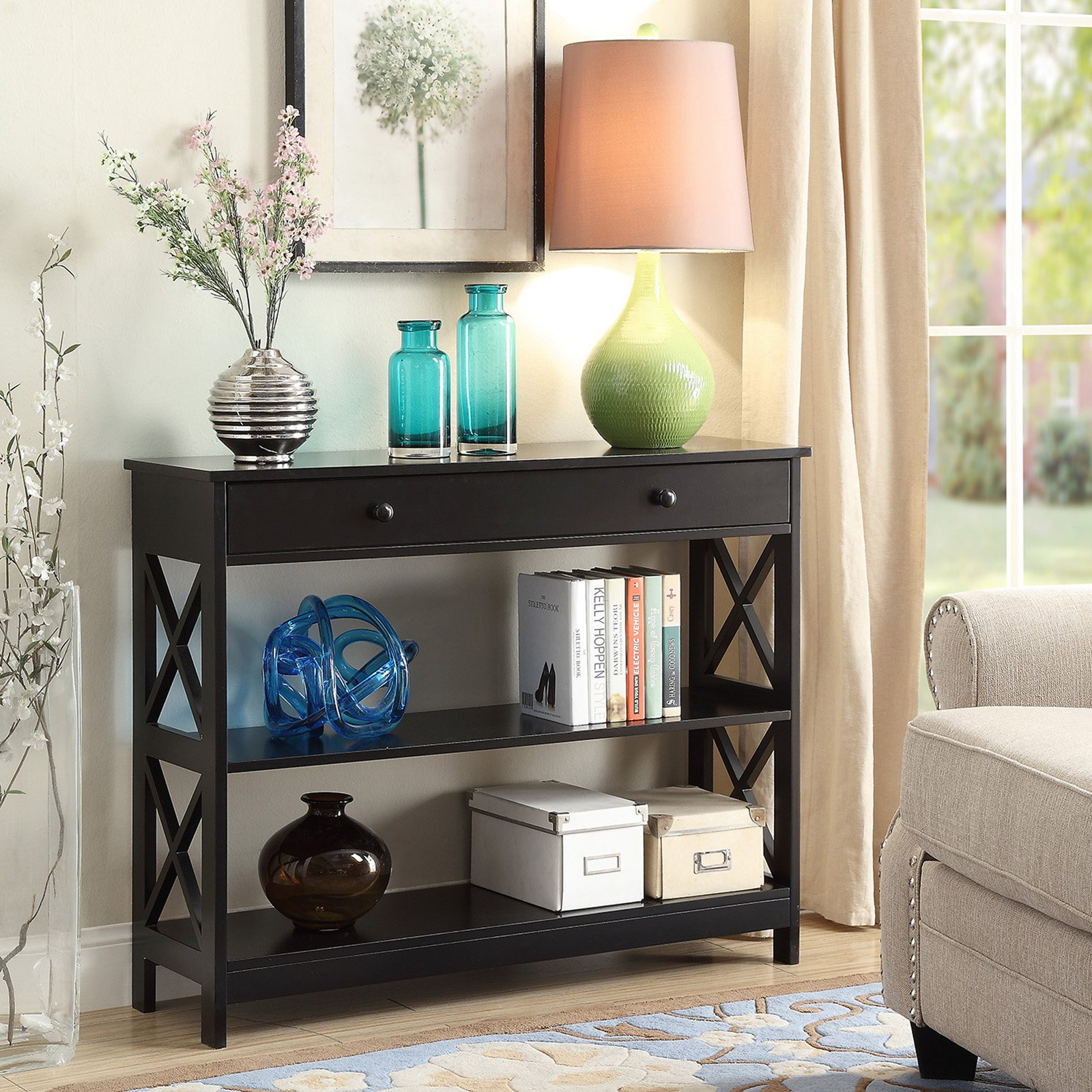 Details About Hallway Console Table Espresso Wood Accent Living Room Drawer Entryway Furniture