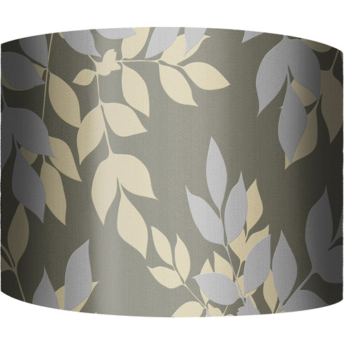 "12"" Drum Lampshade, Golden Leaves (Dark) by"