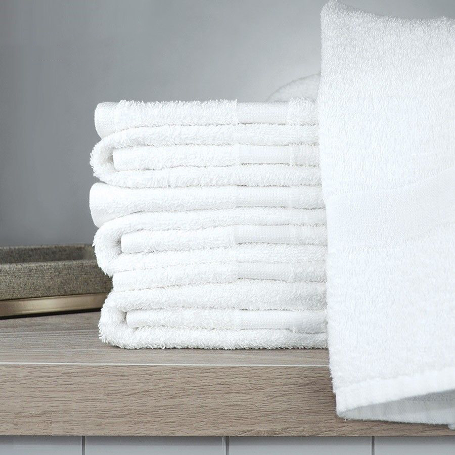 "GHP 12-Pieces 22""x44"" Solid White Super Absorbent Cotton Home Kitchen Hand Towels"