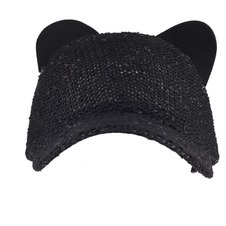 Lux Accessories - Lux Accessories Black Sequin Cat Ear Baseball Cap Dat Hat  Trendy Hat for Girls - Walmart.com ba95879dd45