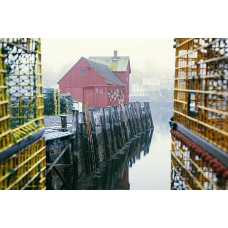 (New England Massachusetts Red building at the end of Rockport Harbor Framed by trap cages PosterPrint)