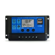 100A Solar Charge Controller, Solar Panel Controller /24V Adjustable LCD Display Solar Panel Battery Regulator with Dual USB Port