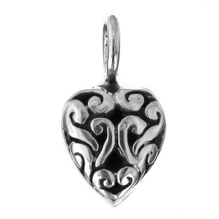 925 Sterling Silver Small Heart Scrollwork Filigree Pendant
