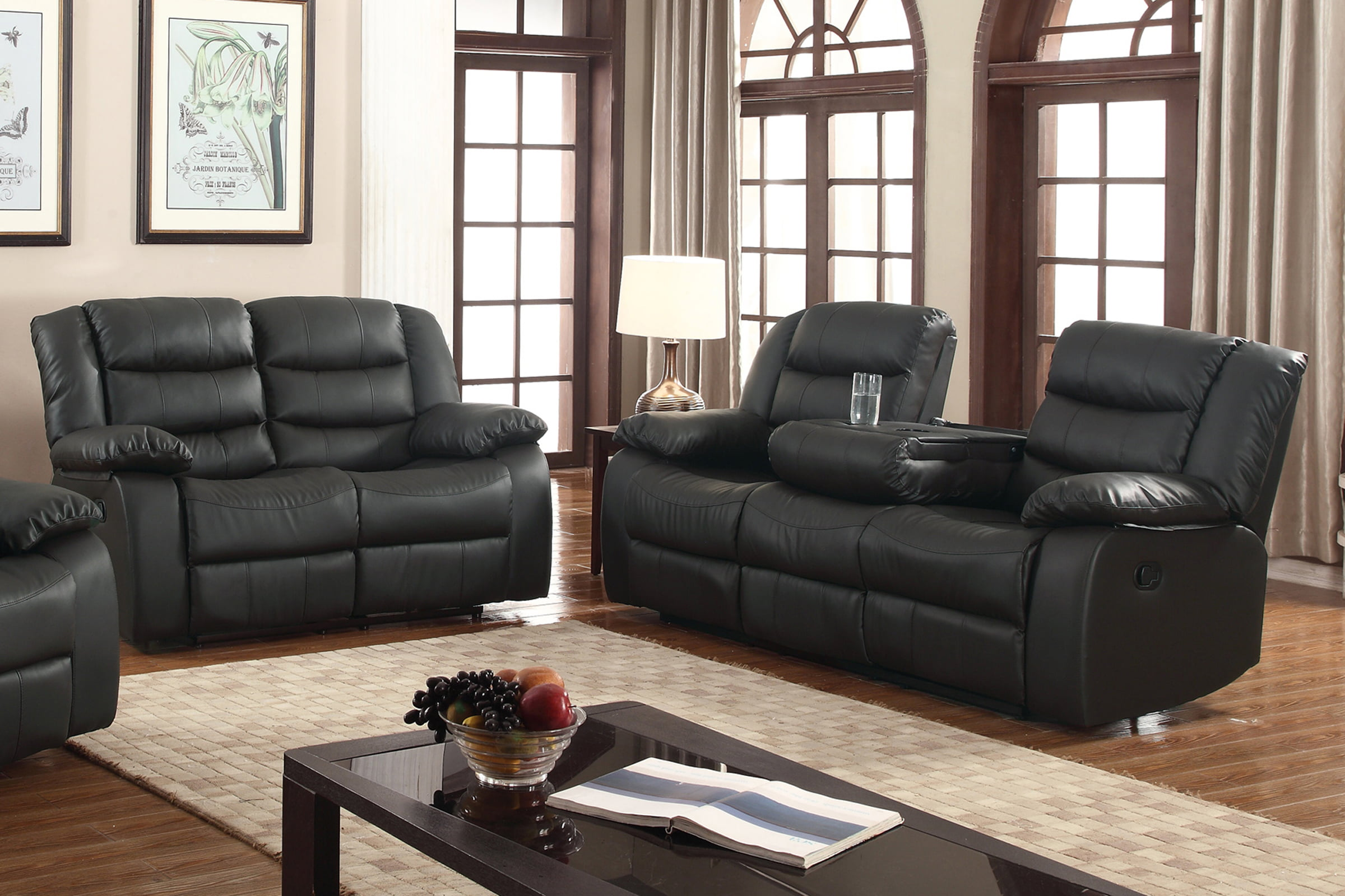 Layla 2 pc Black Faux Leather Living Room Reclining Sofa and Loveseat set  with Drop-down tea table