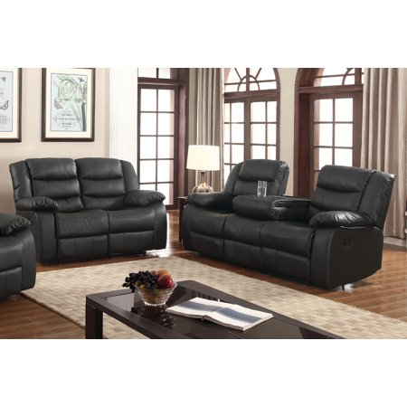 Layla 2 pc Black Faux Leather Living Room Reclining Sofa and ...