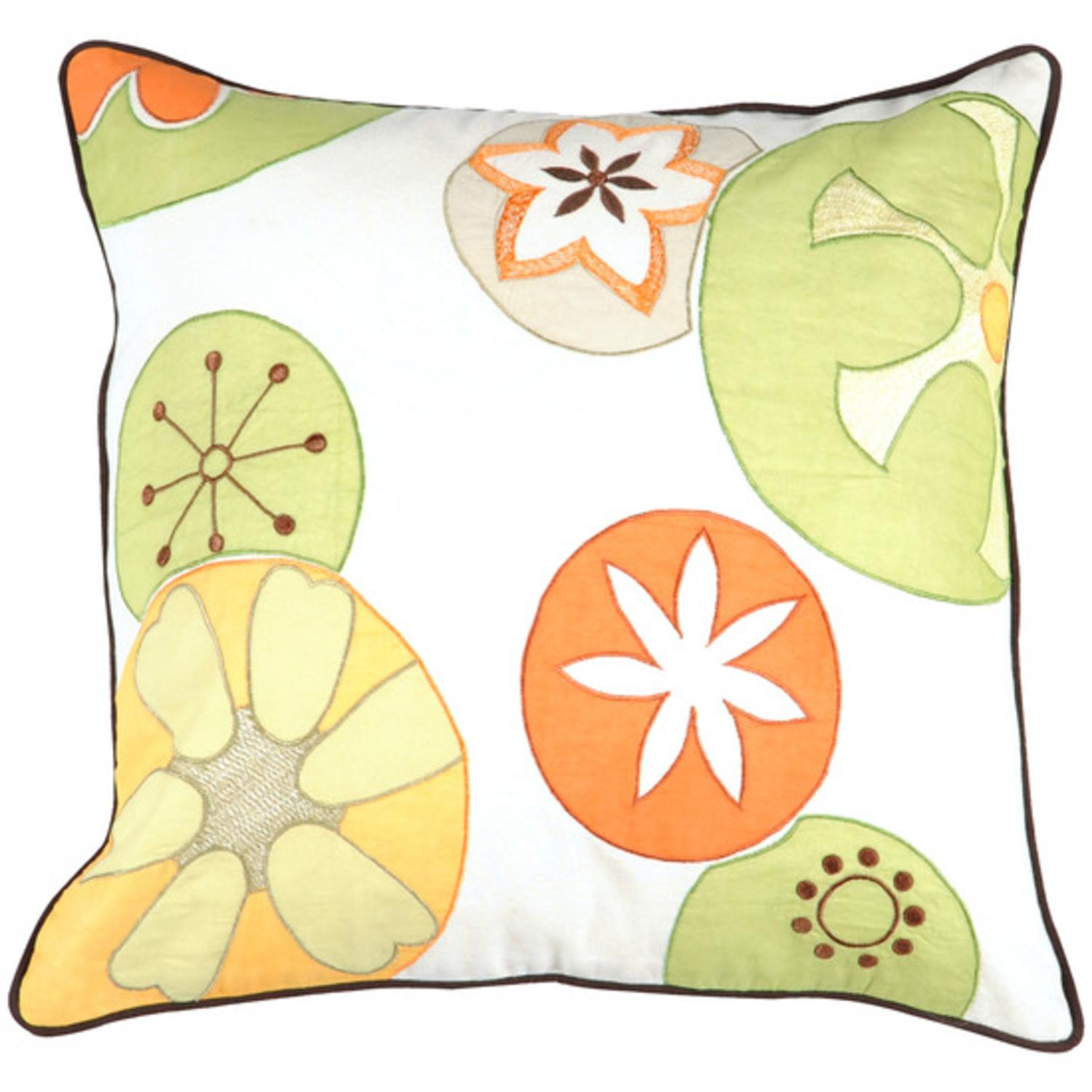 """22"""" Cheerful Abstract Retro Fruit White and Yellow Decorative Down Throw Pillow"""