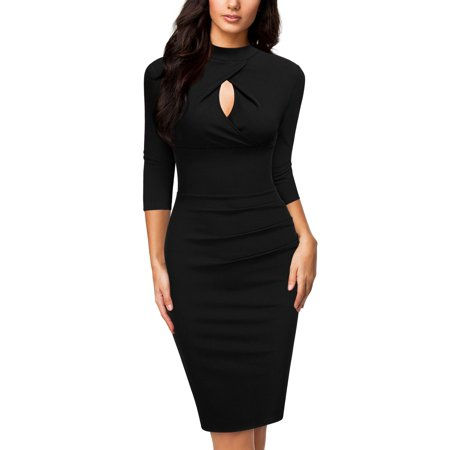 Women's Formal Evening Cocktail Party Bodycon Dress,Open Neck 3/4 Sleeve Pleated Wedding Bridesmaid Pencil Dress(5 Colors:Black,Navy Blue,Brown,Green,Wine Red ;S=4/6,M=8/10,L=12/14,XL=16/18) Draped Open Back Cocktail