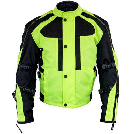 Xelement XS3000 Momentum Mens Black/Neon Green Tri-Tex Armored Motorcycle Jacke