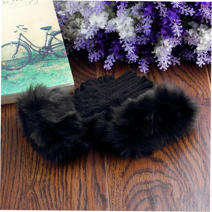 2015 Hot Selling 1pairs fashion Cute Faux Rabbit Fur Hand Winter Warmer Knitted Fingerless Gloves Mitten Free Shipping by