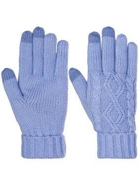 DG Hill Warm Texting Gloves for Women, Cable Knit Touchscreen Winter Text Gloves Cute and Cozy Fleece Lining
