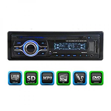 KKmoon KV2169 Universal In-Dash Single-DIN Car CD DVD MP3 FM Player with Aux Input SD / USB Port (Car Cd Player With Usb)