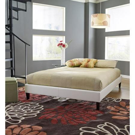 premier elite faux leather full white upholstered platform bed frame with bonus base wooden slat. Black Bedroom Furniture Sets. Home Design Ideas