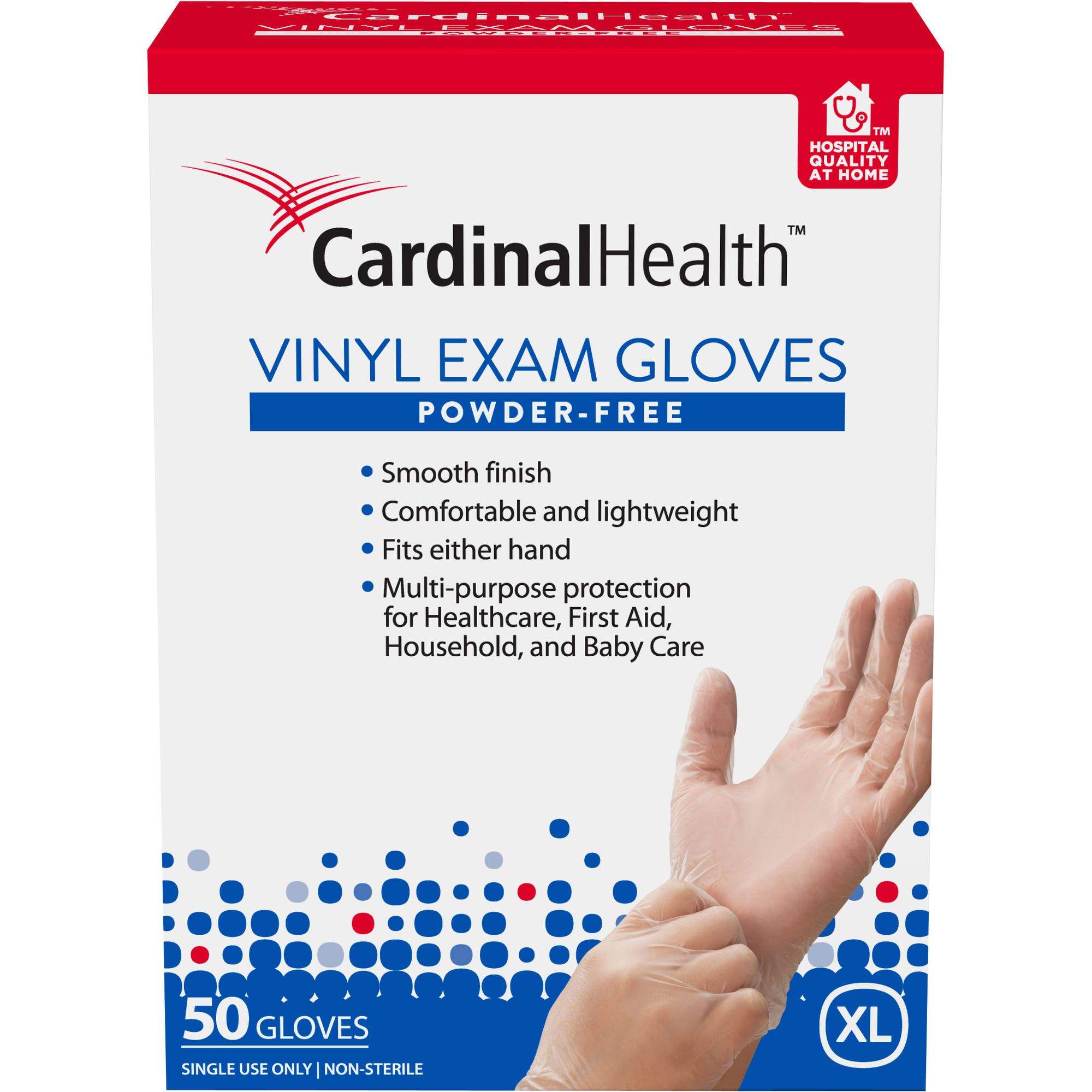 Cardinal Health Powder-Free Vinyl Exam Gloves, Extra Large, 50 count