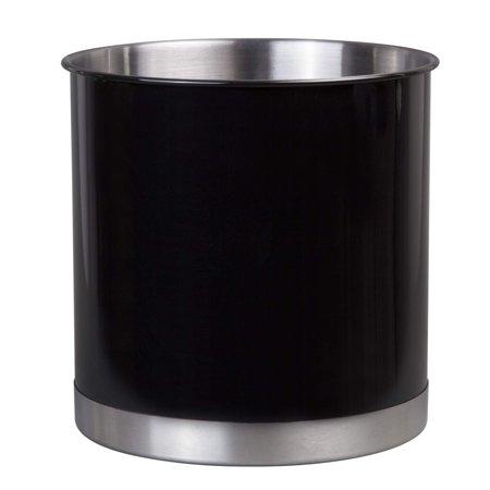 "Creative Home 50299 Heavy Gauge Stainless Steel Tool Crock Utensil Flatware Holder Large, 7"" Diam. x 7"" H Black"