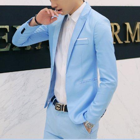 Men's Formal Slim Fit One Button Suit Blazer Business Coat Jacket Casual Tops Sky Blue ()