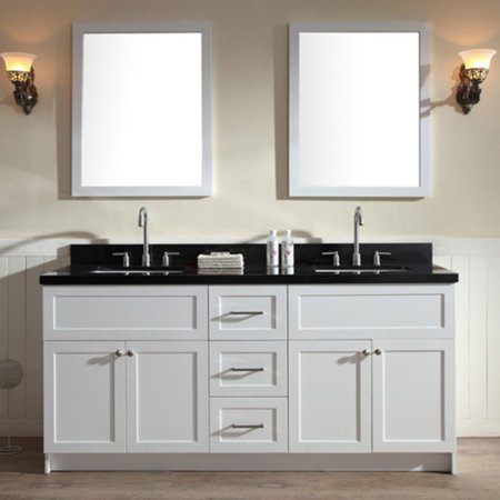 Absolute Black Granite Countertops - ARIEL HAMLET 73 IN. DOUBLE SINK VANITY SET WITH ABSOLUTE BLACK GRANITE COUNTERTOP IN WHITE