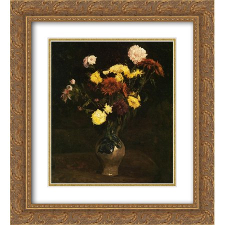 Vincent van Gogh 2x Matted 20x24 Gold Ornate Framed Art Print 'Basket of Carnations and Zinnias '