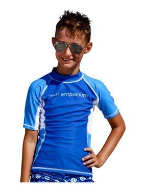 Sun Emporium Little Boys Royal Azure Multi Panel Short Sleeve Rash Guard