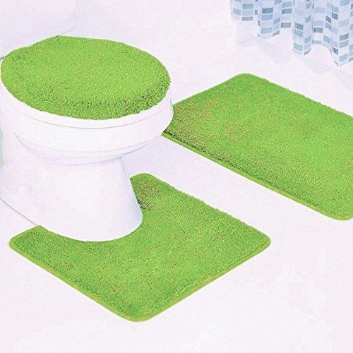 Click here to buy 3-Piece Quinn Solid Bathroom Rug Set Bath Mat Contour & Toilet Lid Cover Lime Green.