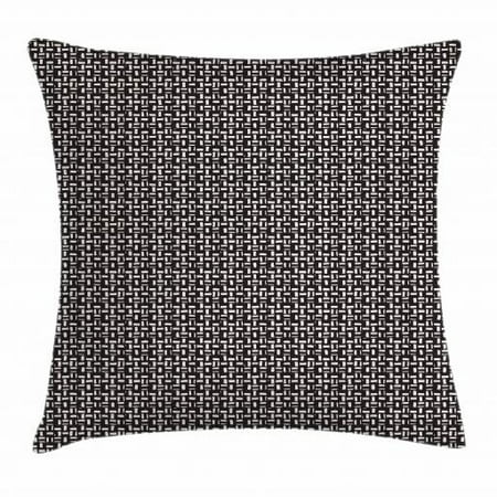 - Black and White Throw Pillow Cushion Cover, Hand Drawn Repeating Stripes with Grunge Effect on Dark Toned Backdrop, Decorative Square Accent Pillow Case, 18 X 18 Inches, White and Black, by Ambesonne