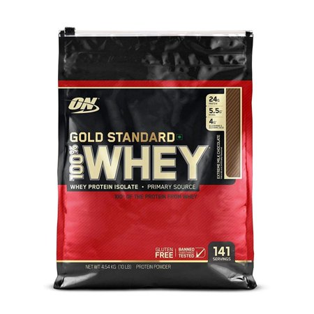 Optimum Nutrition Gold Standard 100% Whey Protein Powder, Extreme Milk Chocolate, 24g Protein, 10 Lb ()
