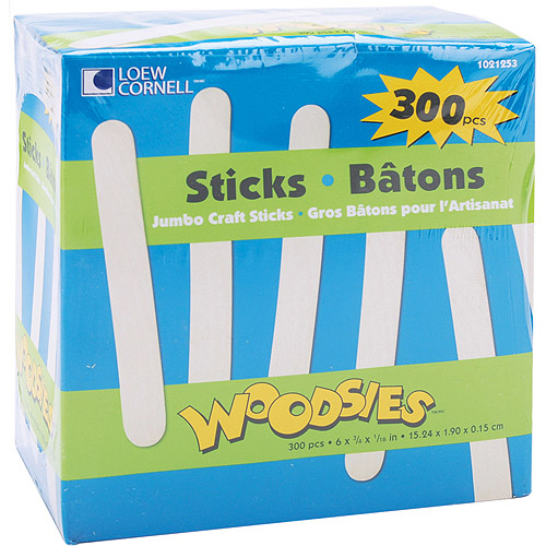 "Woodsies Jumbo Craft Sticks, 6"", 300-Pack"