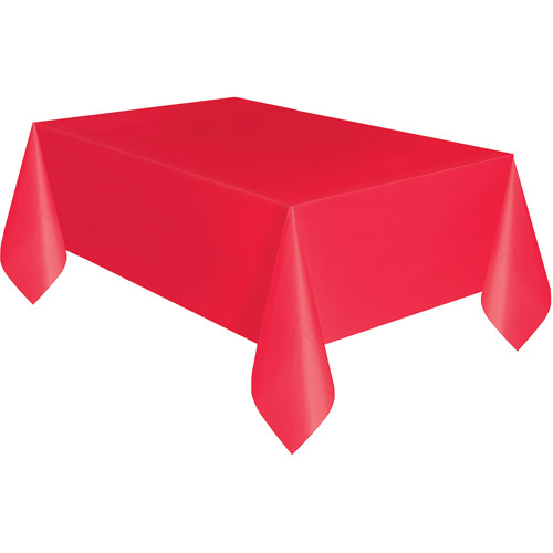 Plastic Tablecloth, 108 in. x 54 in., Red