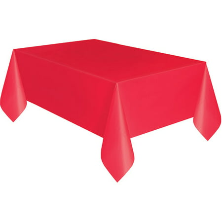 Plastic Tablecloth, 108 in. x 54 in., Red](Red Plastic Tablecloth)