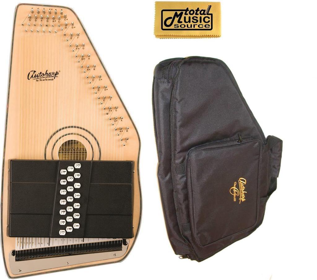 Oscar Schmidt 21 Chord Autoharp w  Gig Bag, Solid Spruce, Gloss Finish, OS120CN-AC445 by Oscar Schmidt