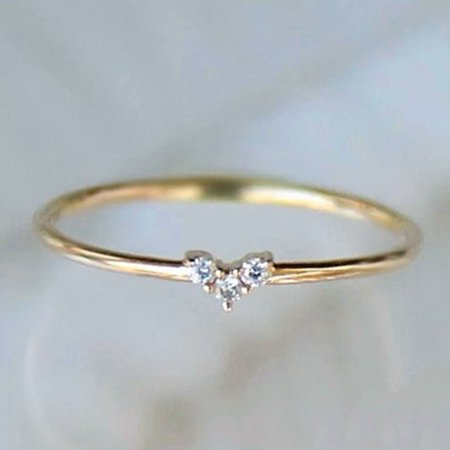 AkoaDa New Love Shape Small Diamonds Thin Ring Delicate Small Fresh Japanese Style Ring (Japanese Ring)