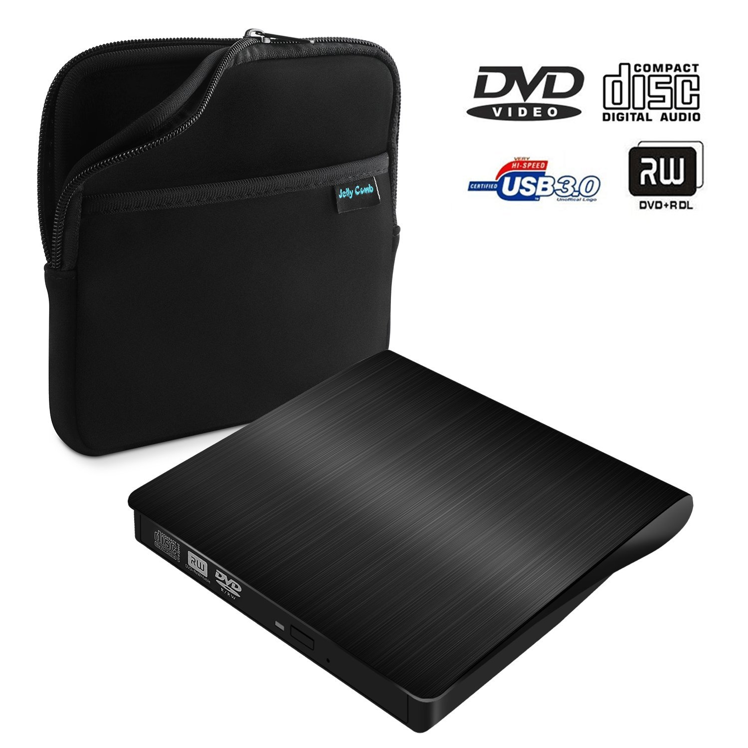 USB 3.0 External DVD CD Drive, Jelly Comb Slim Portable External DVD/CD RW Burner Drive for Laptop, Notebook, Desktop, Mac Macbook Pro, Macbook Air and More