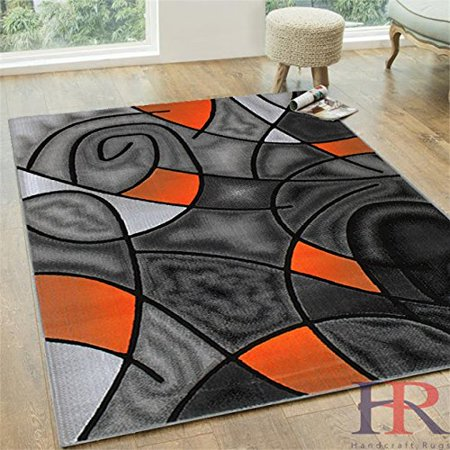 Handcraft Rugs Electric Orange Grey Silver Black Abstract Area Rug Modern Contemporary Circles And Wave Design Pattern