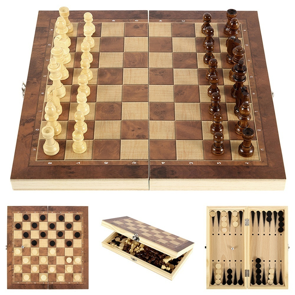 3in1 Chess Board Game Set Large Folding Wooden Checkers Backgammon Draughts Toy