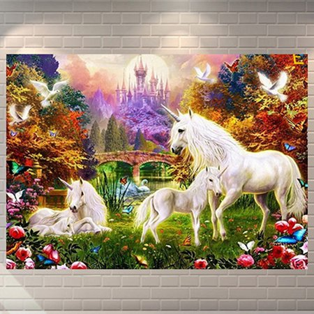 Heepo 5D Unicorn Castle DIY Drill Pictures Embroidery Arts Artificial Diamond Painting