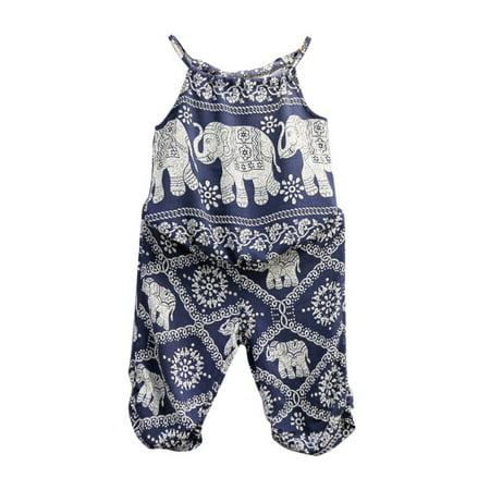 VICOODA 2PCS Baby Girls Elephant Prnted Vest Sling Tops + Long Pants Loose Suit Girls Clothes Sets](Elephant Suit)
